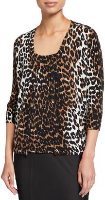 Neiman Marcus Cheetah Print Elbow-Sleeve Cashmere Cardigan