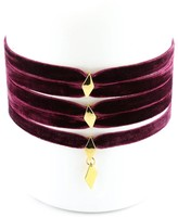 Vanessa Mooney The Delilah Yellow Gold Plated Diamond-Cut Charm Layered Faux Suede Choker
