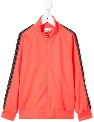 Fendi Kids FF logo trim bomber jacket