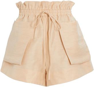 Shona Joy Savoye Paperbag Linen-Blend Shorts