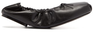 KHAITE Ahsland Foldable Leather Ballerina Flats - Black