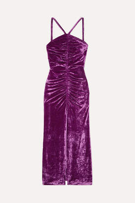 ATTICO The Bow-detailed Ruched Stretch-velvet Maxi Dress - Purple