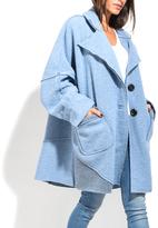 Everest Light Blue Wool-Blend Peacoat - Plus Too