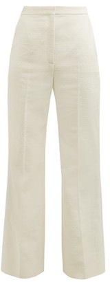 ALEXACHUNG Tailored Crop Flare Cotton Boucle Trousers - Womens - Cream
