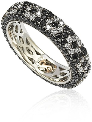 Suzy Levian Sterling Silver CZ Black & White Flower Eternity Band Ring