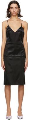 Kwaidan Editions Black Bonded Satin Faceted Slip Dress