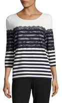 Karl Lagerfeld Striped Lace Three-Quarter Sleeved Top