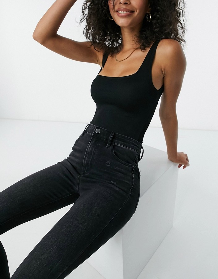 Thumbnail for your product : Stradivarius Tall super high waist skinny jean in black wash