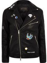River Island Mens Black faux leather badged biker jacket