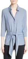 L'Agence Women's Chambray Tie Front Shirt