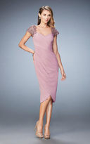 La Femme 21648 Embellished Cap Sleeve Ruched Jersey Dress