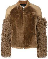MSGM sleeve detail jacket - women - Viscose/Lamb Fur/Lambs Wool - 40