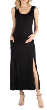 24seven Comfort Apparel Sleeveless Maternity Slip Maxi Dress with Side Slits and Pockets