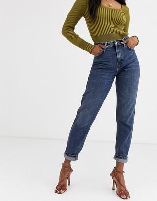 Topshop mom jeans in dark wash-Blue