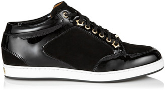 Jimmy Choo MIAMI Black Suede and Patent Trainers