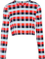 Tanya Taylor Cara cropped plaid stretch-knit top