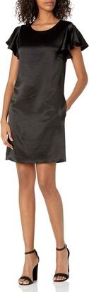 Milly Women's Bryce Hammered Satin Flutter Sleeve Dress