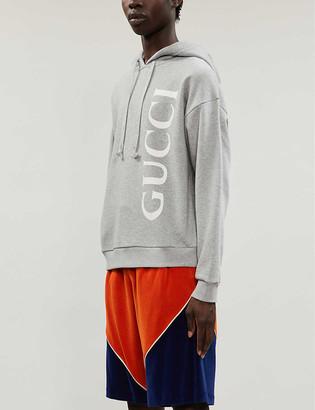 Gucci Logo-print cotton-jersey drawstring hoody