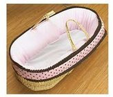 Baby Doll Bedding Cocoa Dots Moses Basket, Brown/Pink by BabyDoll Bedding