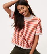 LOFT Striped Mockneck Short Sleeve Sweater