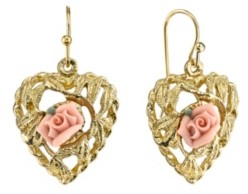 2028 Gold Pink Flower Heart Drop Earrings