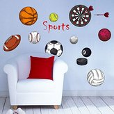Mr.S Shop Soccer Ball club Football Sport Frisbee Rugby Wall Sticker Kindergarten For Boy Kids Room Home Decoration Home Decor bedroom