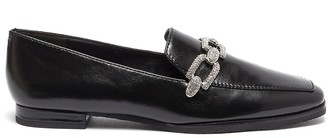Stella Luna Crystal chain detail leather loafers