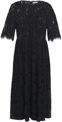 Ganni Everdale Pleated Corded Lace Midi Dress
