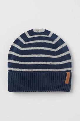 H&M Fine-knit Cotton Hat - Beige