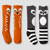 Genuine Kids from OshKosh Toddler & Baby Girls' 2pk Fawn and Raccoon Socks - Orange/Black