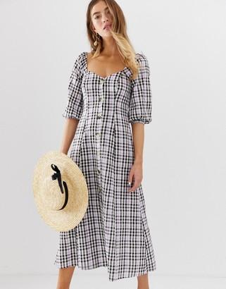 ASOS DESIGN button through maxi dress in check