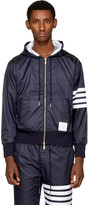 Thom Browne Navy Ripstop Four Bar Zip Hoodie