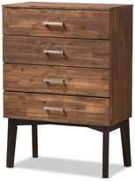 Baxton Studio Selena Mid-Century Modern Brown Wood 4-Drawer Chest