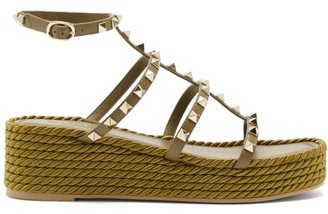 Valentino Torchon Rockstud Leather Wedge Sandals - Khaki