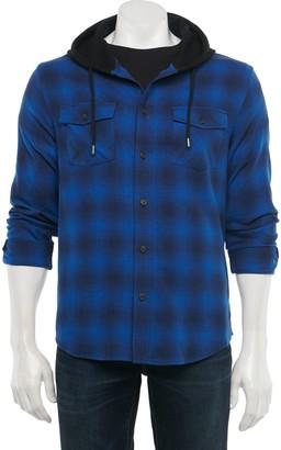Urban Pipeline Men's Hooded Button-Down Flannel Shirt