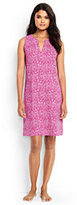 Lands' End Women's Petite Cotton Sleeveless Dress Cover-up-Light Fuchsia Bandana Paisley