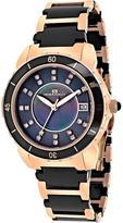 Oceanaut OC2412 Women's Charm Rose Gold & Black Ceramic Watch w/ Crystal Accents