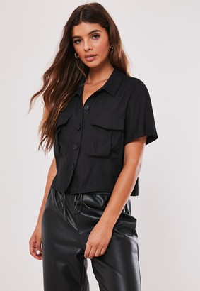 Missguided Black Button Through Utility Cropped Shirt