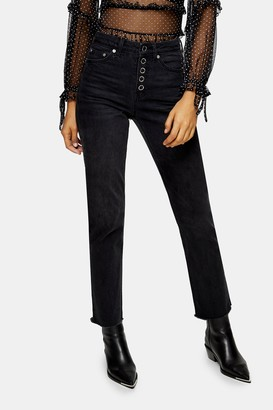 Topshop Womens Washed Black Popper Straight Jeans - Washed Black