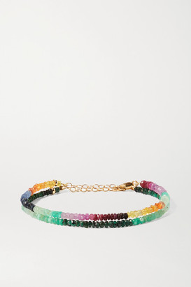 JIA JIA Set Of Two 14-karat Gold, Sapphire And Emerald Bracelets - Green
