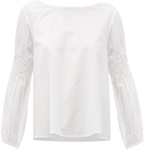 Merlette New York Miombo Smocked-sleeve Cotton-poplin Blouse - White