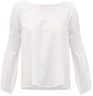 Merlette New York Miombo Smocked-sleeve Cotton-poplin Blouse - White