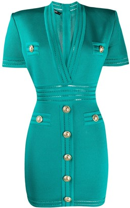 Balmain V-neck short-sleeved fitted dress