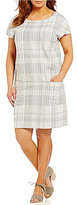 Eileen Fisher Plus Bateau Neck Cap Sleeve Dress