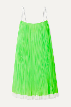 Marc Jacobs Crystal-embellished Lace-trimmed Pleated Mesh Mini Dress - Green