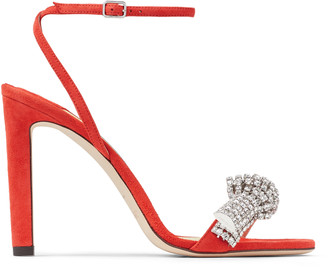 Jimmy Choo THYRA 100 Mandarin Red Suede Sandals with Pave Crystal Cord Detail