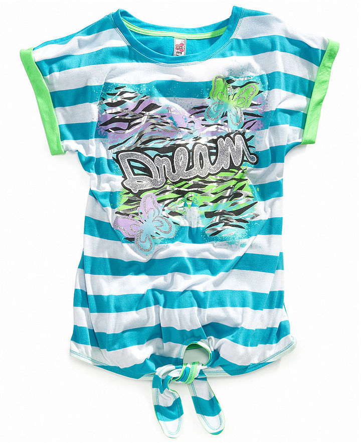 Beautees Kids Shirts, Girls Striped Neon Graphic Tees