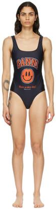 Ganni Black Smiley One-Piece Swimsuit