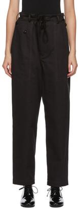 Y's Ys Black Side-Zipper Trousers