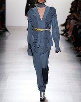Prabal Gurung Classic Silk Straight-Leg Trousers, Sky Blue